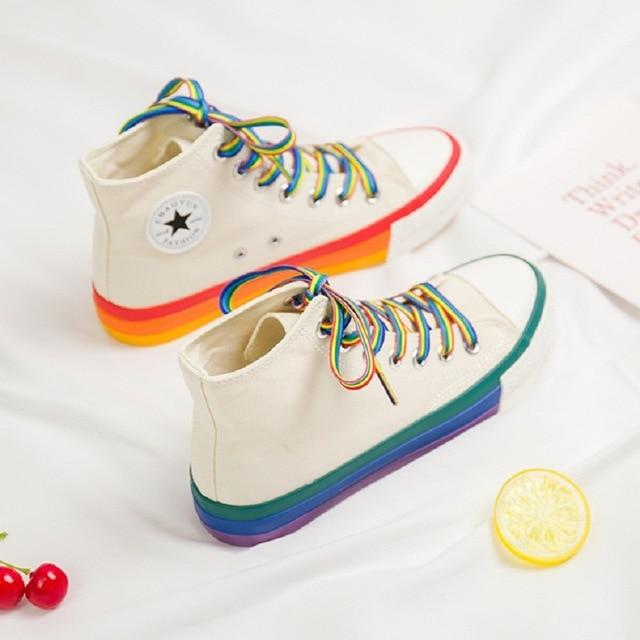 Rainbow Bottom Casual Shoes High Top Sneakers Canvas 2020 Casual Shoes White Canvas Sneakers - GoJohnny437