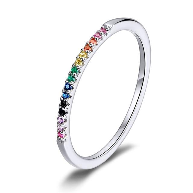 Rainbow Color CZ Finger Rings for Women Stackable Wedding Statement Authentic Sterling Silver 925 Jewelry SCR583 - GoJohnny437