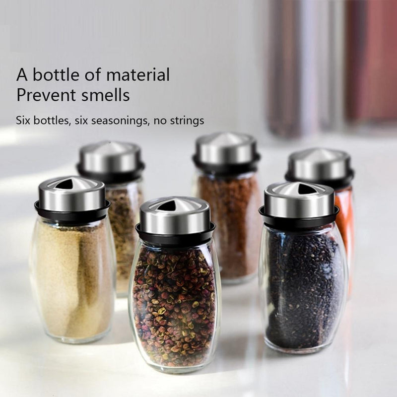 Rotating Cruet Condiment Seasoning Jars Set for Spices Pepper Sprays Bottles Salt Shakers Holder Kitchen Storage Rack Organizer - GoJohnny437
