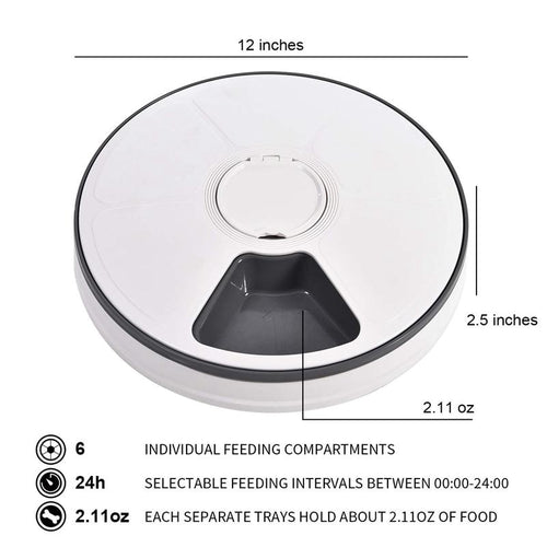 Round Automatic Pet Feeder Food Dispenser for Dogs, Cats & Small Animals Features Distribution Alarms, Programmed Timed Supplies - GoJohnny437