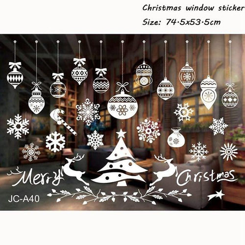 Santa Claus Deer Wall Window Stickers Christmas Decorations for Home 2020 Merry Christmas Ornaments Navidad Xmas Gifts New Year - GoJohnny437