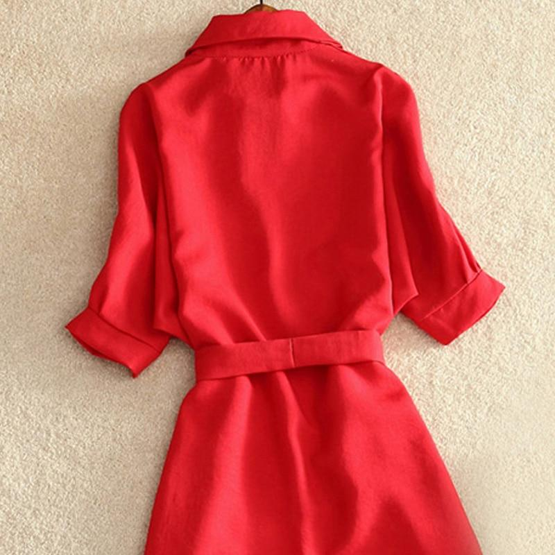 Shirts Women Summer Casual Dress Fashion Office Lady Solid Red Chiffon Dresses For Women Sashes Tunic Ladies - GoJohnny437