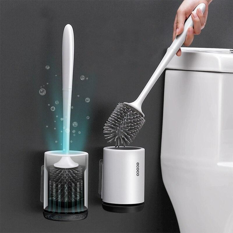 Silicone TPR Toilet Brush and Holder Quick Drain Cleaning Brush Tools for Toilet Household WC Bathroom Accessories Sets - GoJohnny437