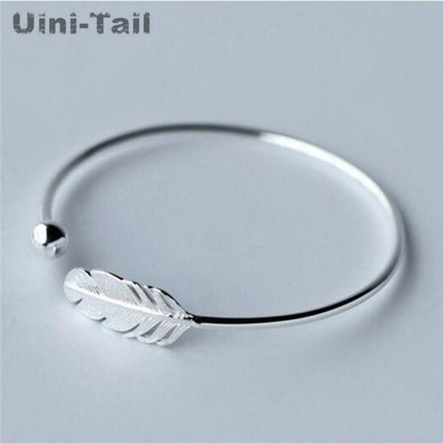 Silver Feather Opening Bracelet Women Fashion Temperament Bracelet Sweet Feather Bracelet - GoJohnny437