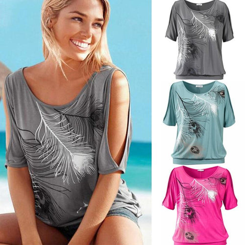 Slit Sleeve Cold Shoulder Feather Print Women Casual Summer T Shirt Girl Tee Tshirt Loose Top T-Shirt - GoJohnny437