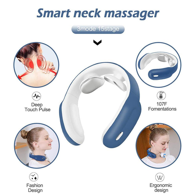 Smart Electric Shoulder Neck Massager Pain Relief Tool Pink Blue White Health Care Relaxation Cervical Vertebra Physiotherapy - GoJohnny437
