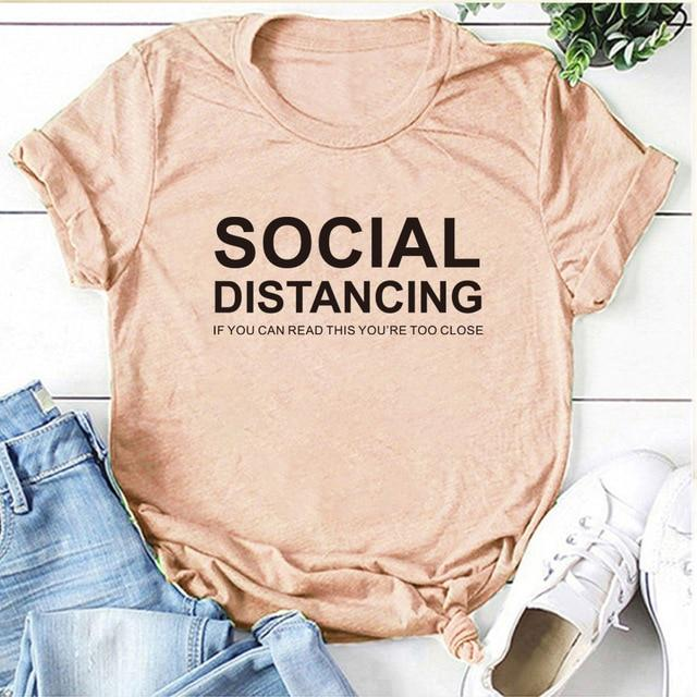 SOCIAL DISTANCING Womens T-shirt Short Sleeve Summer T-shirt Tees Tops - GoJohnny437