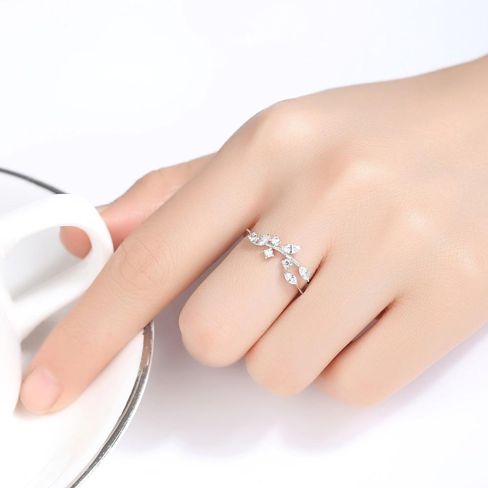 Sterling Silver Handmade Olive Leaf Rings for Women Exquisite Stone Adjustable Open Ring Silver - GoJohnny437