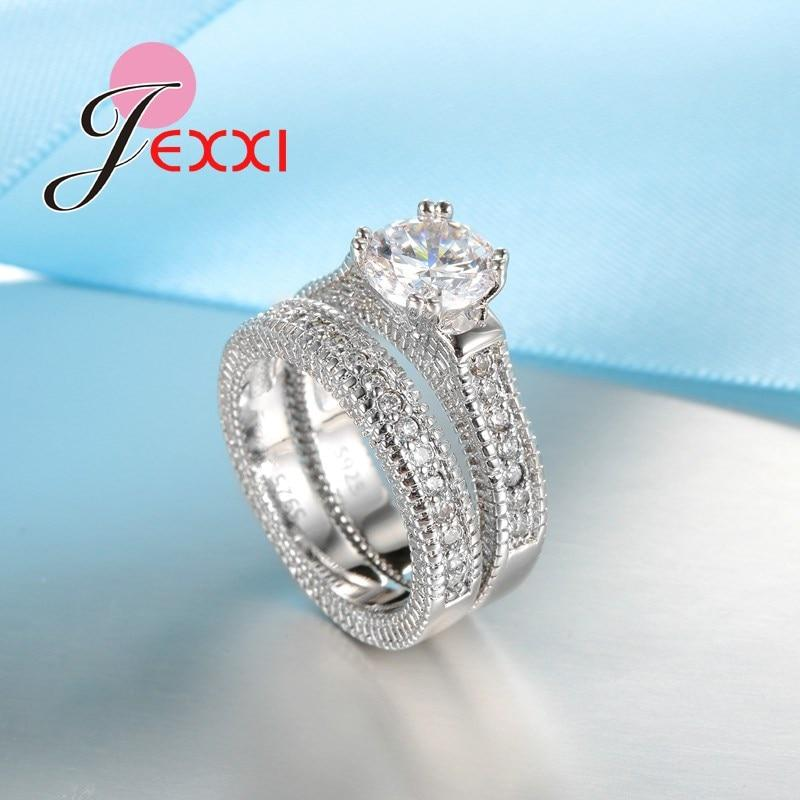 Sterling Silver Ring Sets 2 PCS Full African AAA Crystal Heart Stone Rings Romantic Best Choice - GoJohnny437