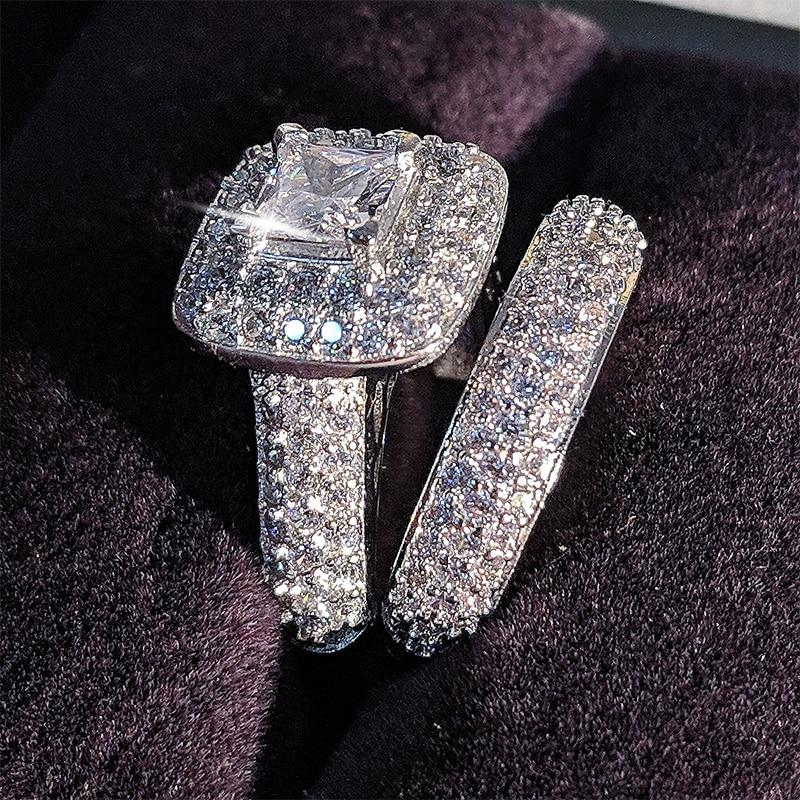 Sterling Silver Wedding Ring Set band for bridal girls and Women ladys love couple pair jewelry R3400 - GoJohnny437