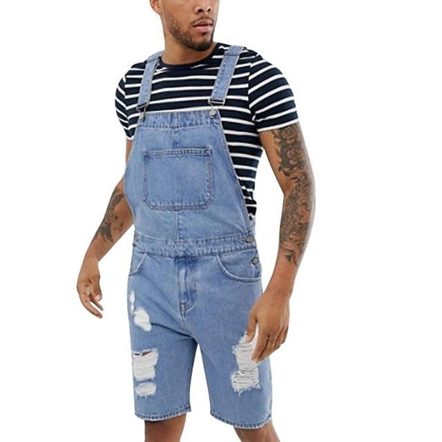 Summer Men's Overalls Solid Color Ripped Denim Shorts Slim Fit Overalls Casual Pants - GoJohnny437