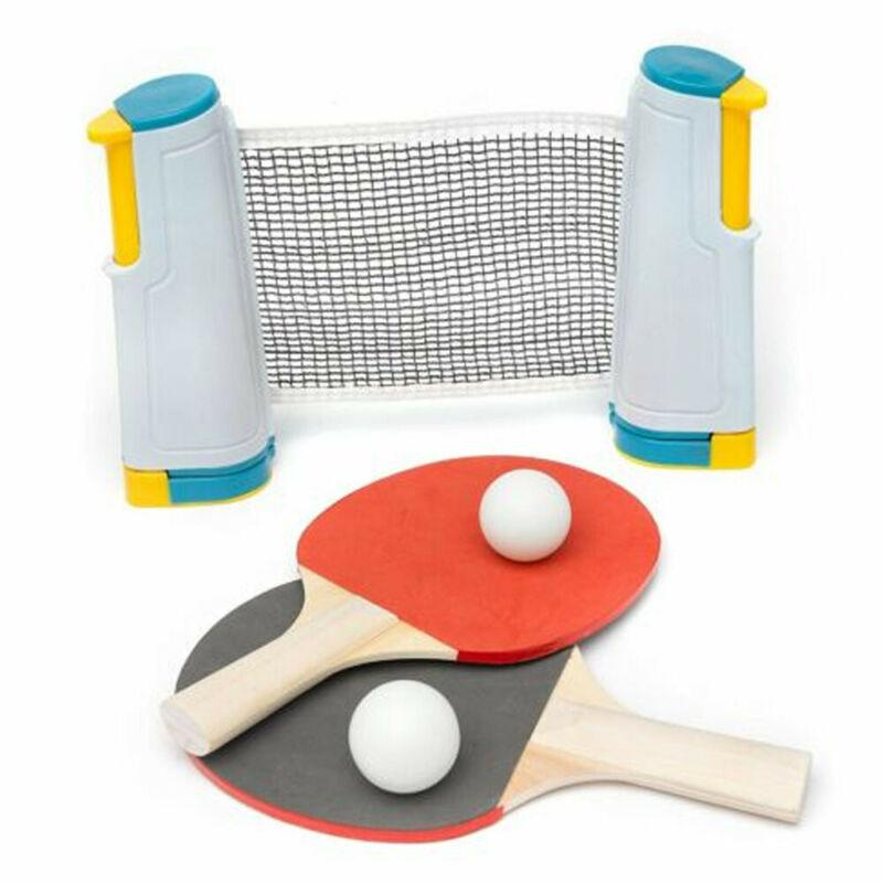 Table Tennis Net Portable Anywhere Retractable Ping Pong Post Net Rack For Any Table - GoJohnny437
