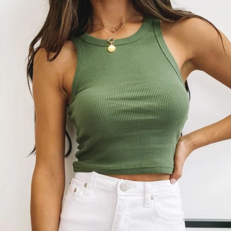 Tank Top Women White Summer Casual Fitness Short Vest Candy Colors Crop Top Women - GoJohnny437