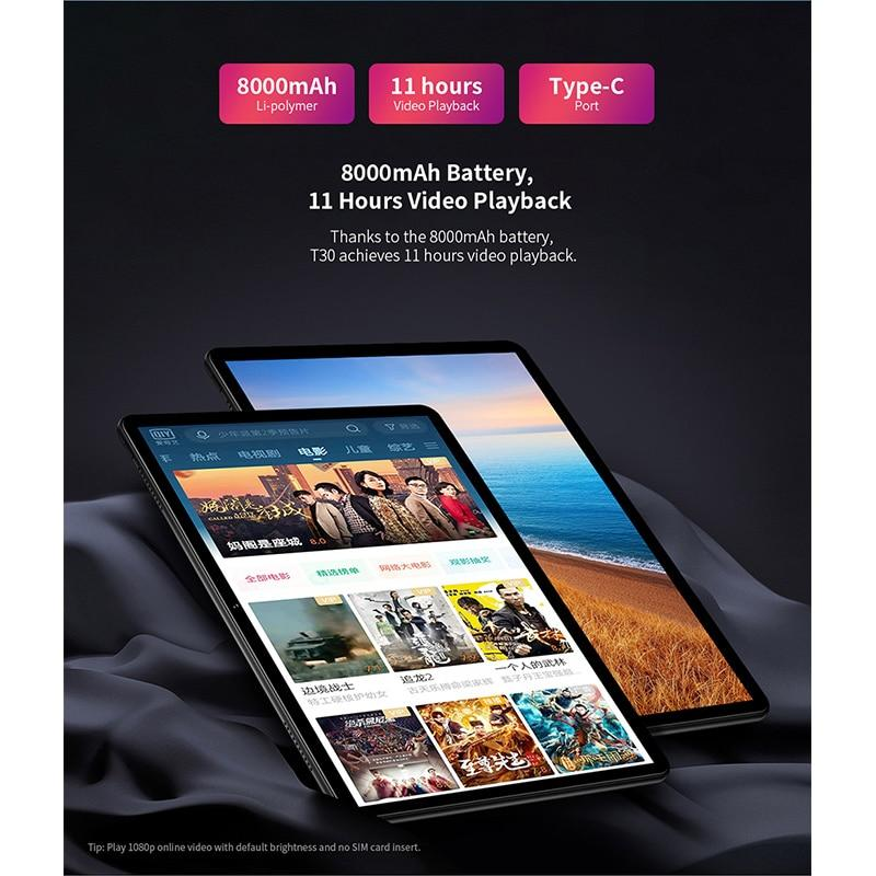"Teclast T30 Andriod 9.0 4G Phone Call Tablet 10.1"" 1920x1200 MTK P70 4GB RAM 64GB ROM 8000mAh Tablets PC Dual Camera GPS Type-C - GoJohnny437"