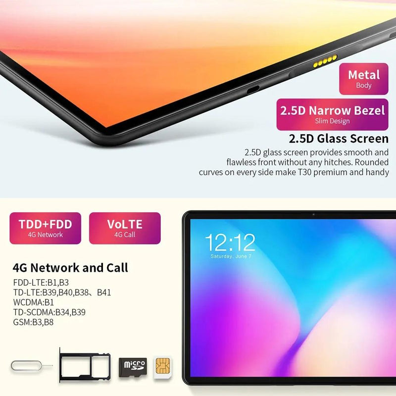 "Teclast T30 Tablet 10.1""Andriod 9.0 4G Phone Call 1920x1200 MTK P70 4GB RAM 64GB ROM 8000mAh Dual Camera GPS Type-C Tablets PC - GoJohnny437"