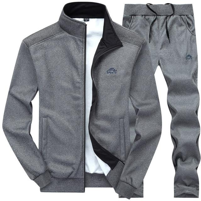 Tracksuits Men Polyester Sweatshirt Sporting Fleece 2020 Gyms Spring Jacket + Pants Casual Men's Track Suit Sportswear Fitness - GoJohnny437