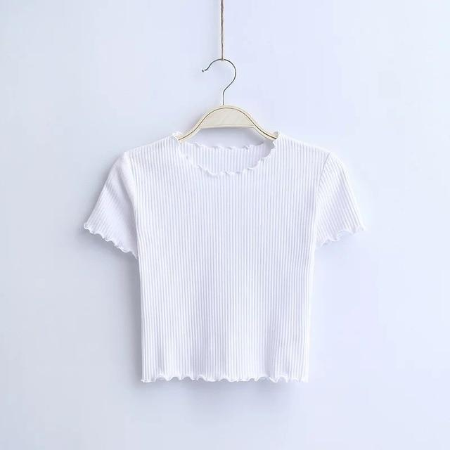 Vintage O neck Short sleeve T-shirt New Woman Slim Fit t shirt tight tee Summer Tops - GoJohnny437