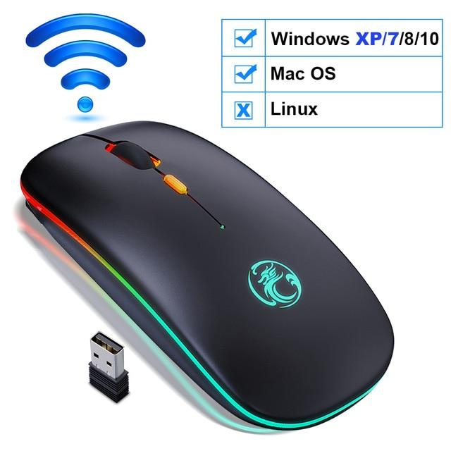 Wireless Mouse Bluetooth RGB Rechargeable Mouse Wireless Computer Silent Mause LED Backlit Ergonomic Gaming Mouse For Laptop PC - GoJohnny437