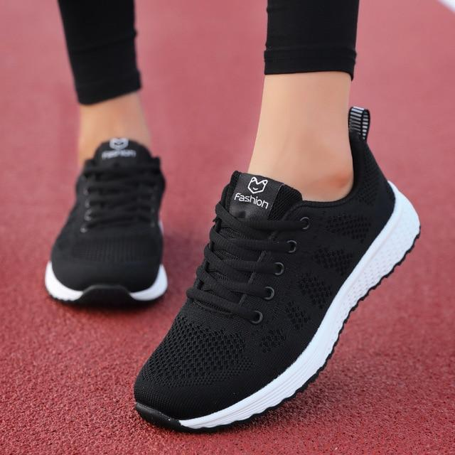 Women Casual Shoes Fashion Breathable Walking Mesh Lace Up Flat Shoes Sneakers Women Pink Black White - GoJohnny437