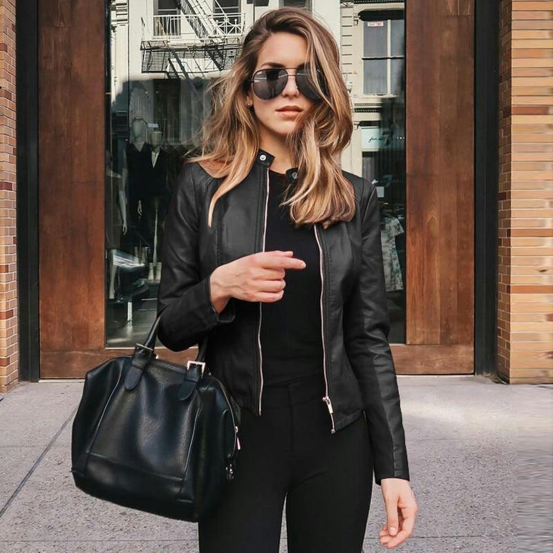 Women Casual Zipper Leather Jackets Motorcycle Long Sleeve Slim Coats Fashion Street Autumn Winter Female Faux Leather Jackets - GoJohnny437