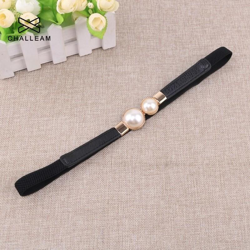 Women Double Pearl Belt Female Black Red White PU Leather Dress Skirt Waist Elastic Thin Belts Ladies Designer Waistband - GoJohnny437