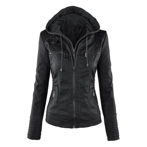 Women Faux Soft Leather Jackets Coats Lady Black Zipper Epaule Motorcycle Streetwear - GoJohnny437