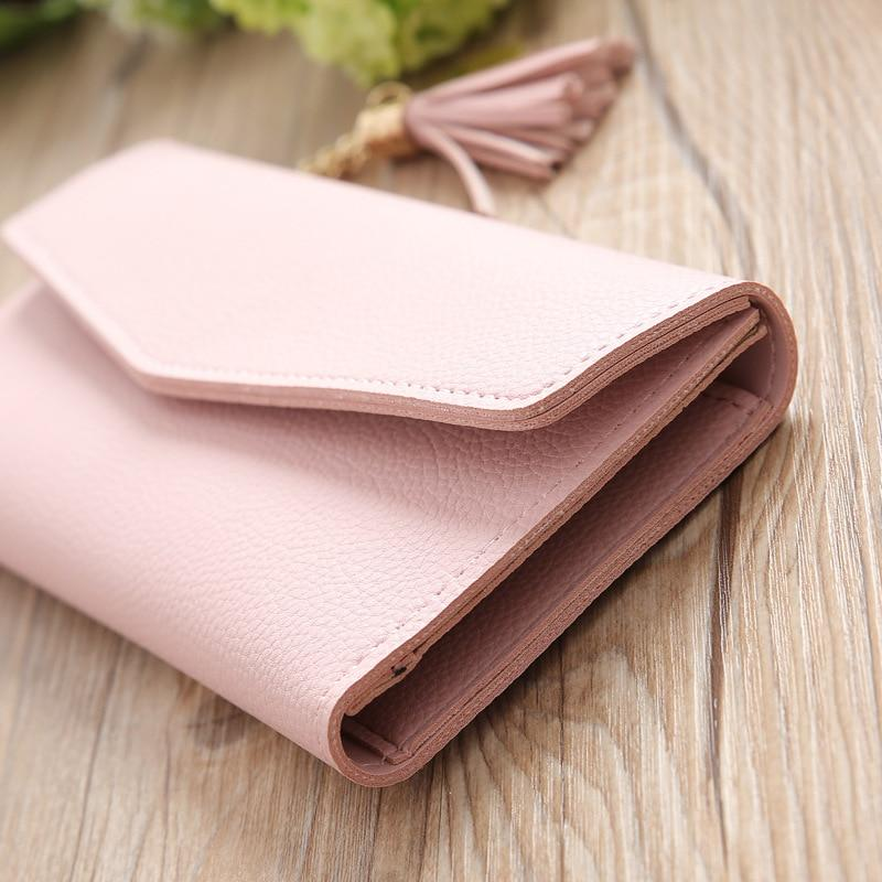 Women Long Wallet Tassel Fashion Coin Purse Card Holder Wallets Female Clutch Money Bag PU Leather Wallet - GoJohnny437