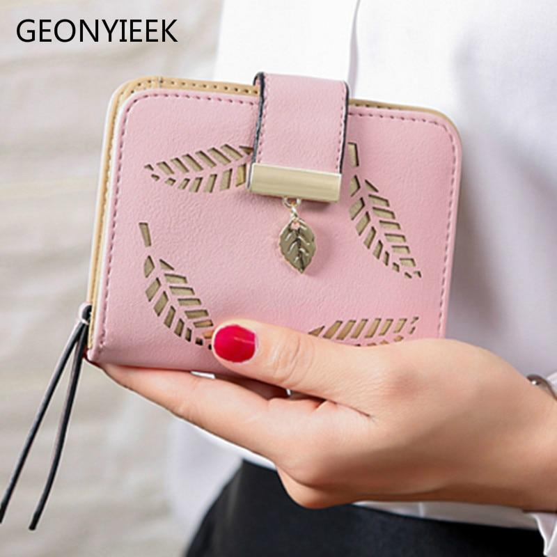 Women Wallet Fashion Purse Female Short Wallets Hollow Leave Pouch Handbag For Women Coin PU Leather Purses Card Holder Carteira - GoJohnny437