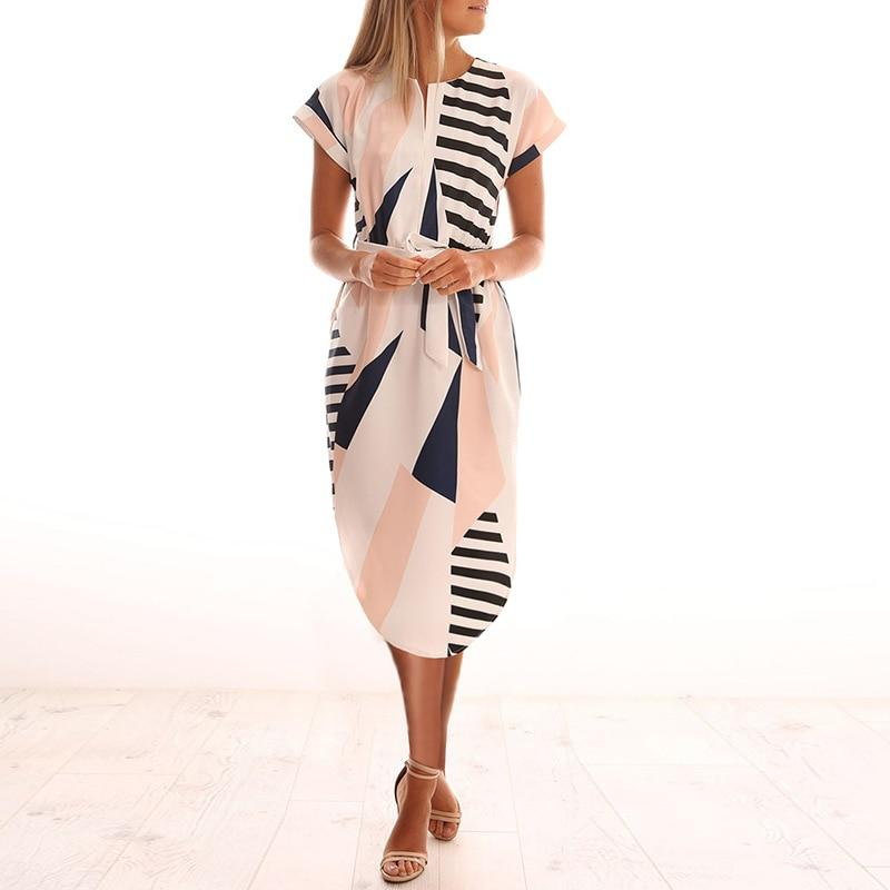 Womens Midi Party Dresses Geometric Print Summer Boho Beach Dress Loose Batwing Sleeve Dress - GoJohnny437