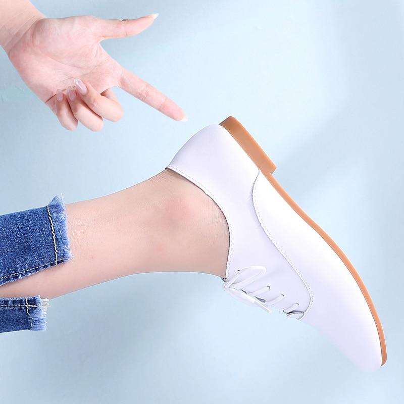 Womens Oxford Shoes Flats Shoes Women Genuine Leather Shoes Moccasins Lace Up Loafers White Shoes - GoJohnny437