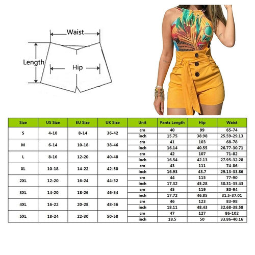 Womens Solid Shorts Sexy Ladies High Waist Casual Button Summer Bandage Shorts Ladies - GoJohnny437