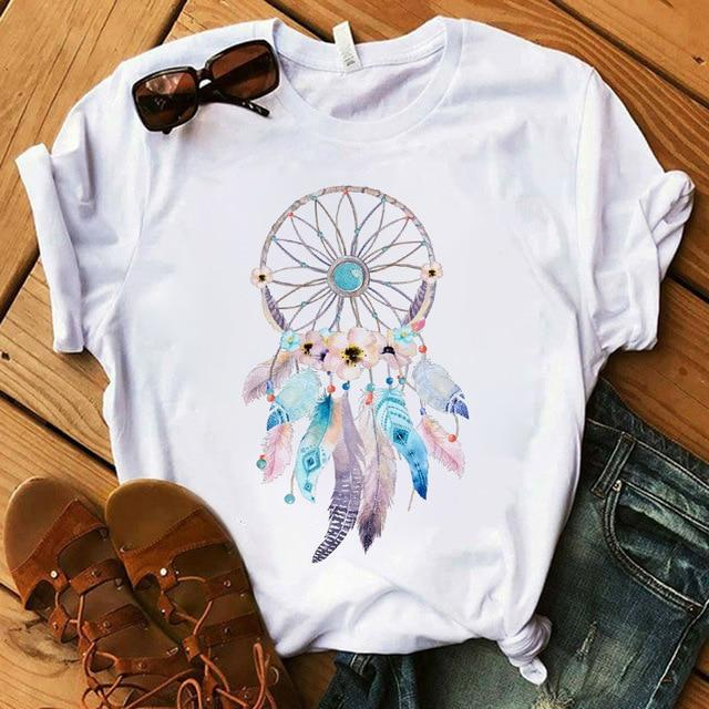 Women's T-shirt Flower Dreamcatcher T-shirt O-neck top women's Street summer casual clothing short sleeves - GoJohnny437