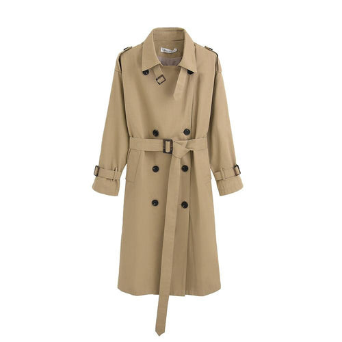 Womens Trench Coat Long Double-Breasted Belt Blue Khaki Lady Clothes Autumn Spring Outerwear Oversize Quality - GoJohnny437