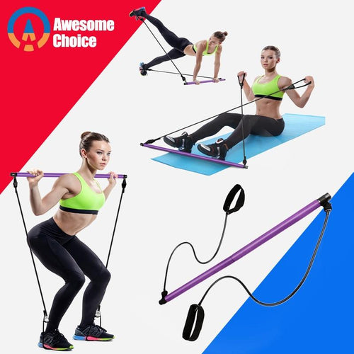 Yoga Resistance Bands Pilates Stick Bodybuilding Crossfit Gym Rubber Tube Elastic Bands Fitness Equipment Training Exercise - GoJohnny437
