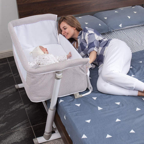 Baby Bassinet,Bedside Sleeper, Adjustable Portable Bed