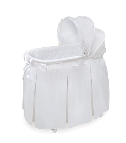 Wishes Oval Rocking Baby Bassinet with Bedding, Storage,