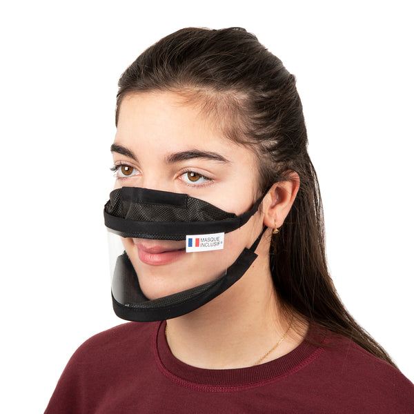 Size S - Transparent face mask with elastics (for kids from 11 years old)