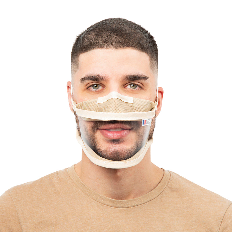 Size M - Transparent face mask with elastics