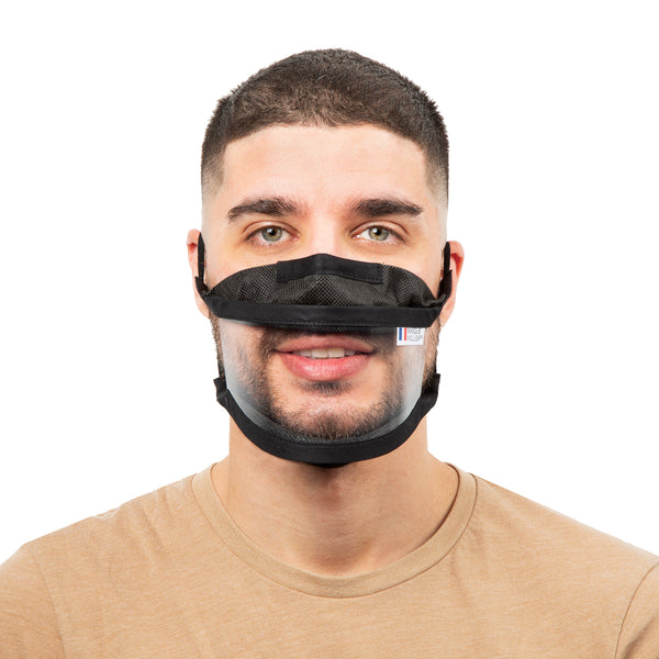 Size M - Transparent face mask with elastics - Black Edition