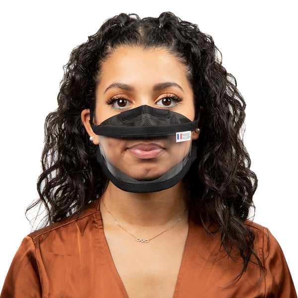 Size S - Transparent face mask with elastics - Black Edition