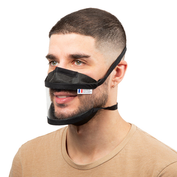 Size M - Transparent face mask with straps