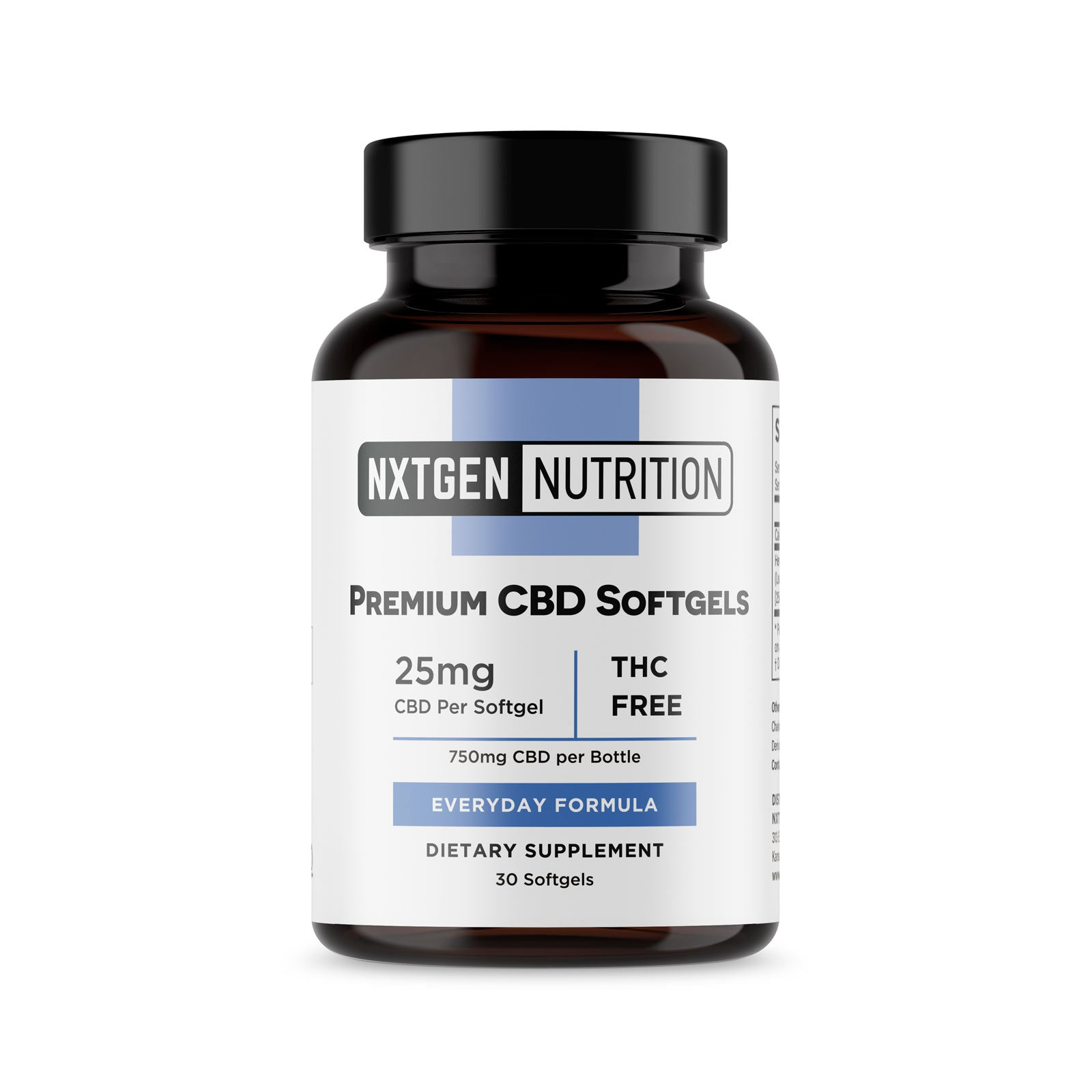 bottle of nxtgen nutrition premium CBD softgels everyday formula