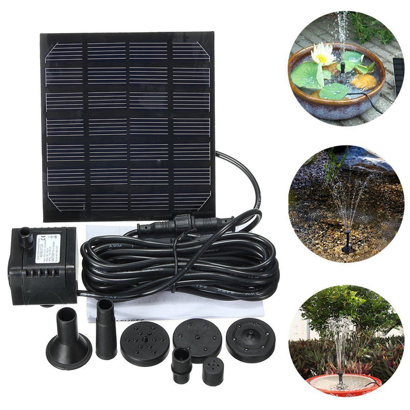 Solar Power Panel Water Pump Garden Brushless 7V 1.5W