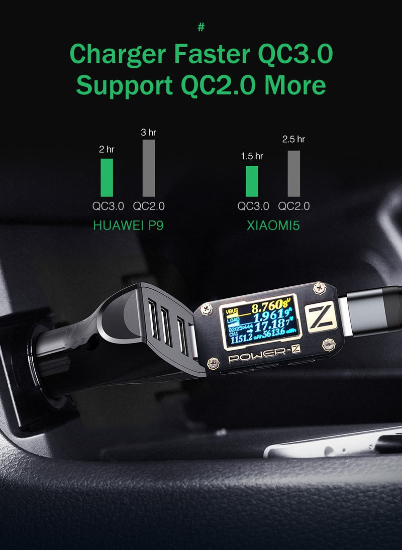 Quick Charge QC 3.0 Car-Charger 4 Ports Fast Car phone Charger Samsung Xiaomi iPhone