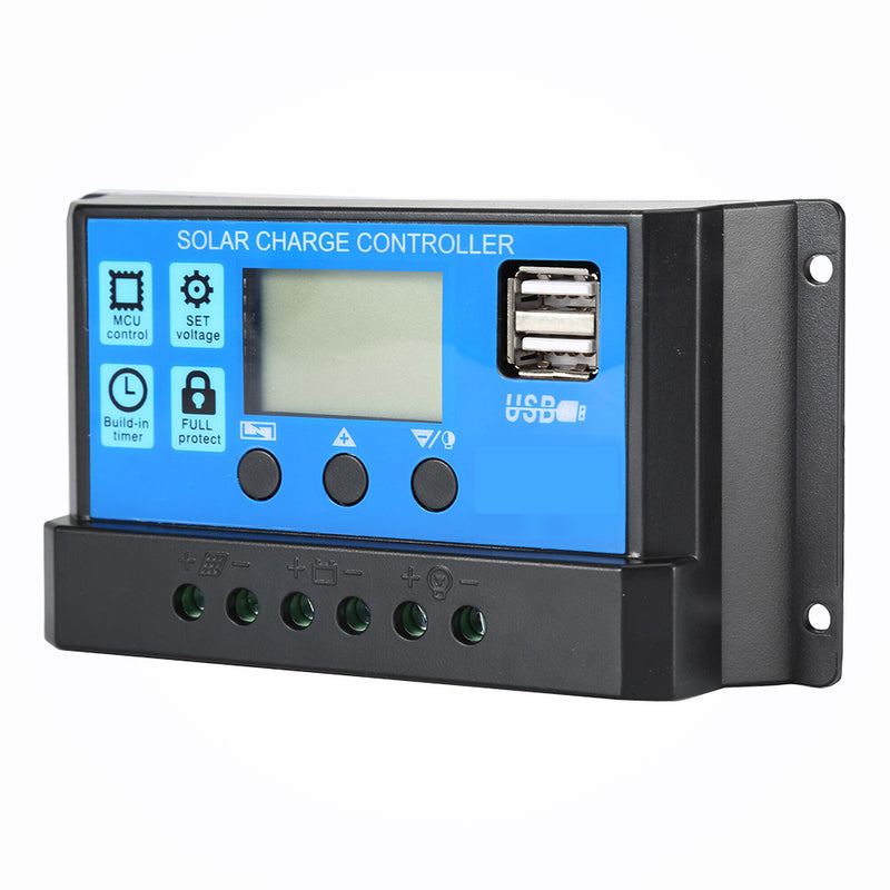 10A 20A 30A 40A 50A 60A Solar Charge Controller 12V 24V Auto PWM 5V Output Regulator PV Home Battery Charger LCD Dual USB