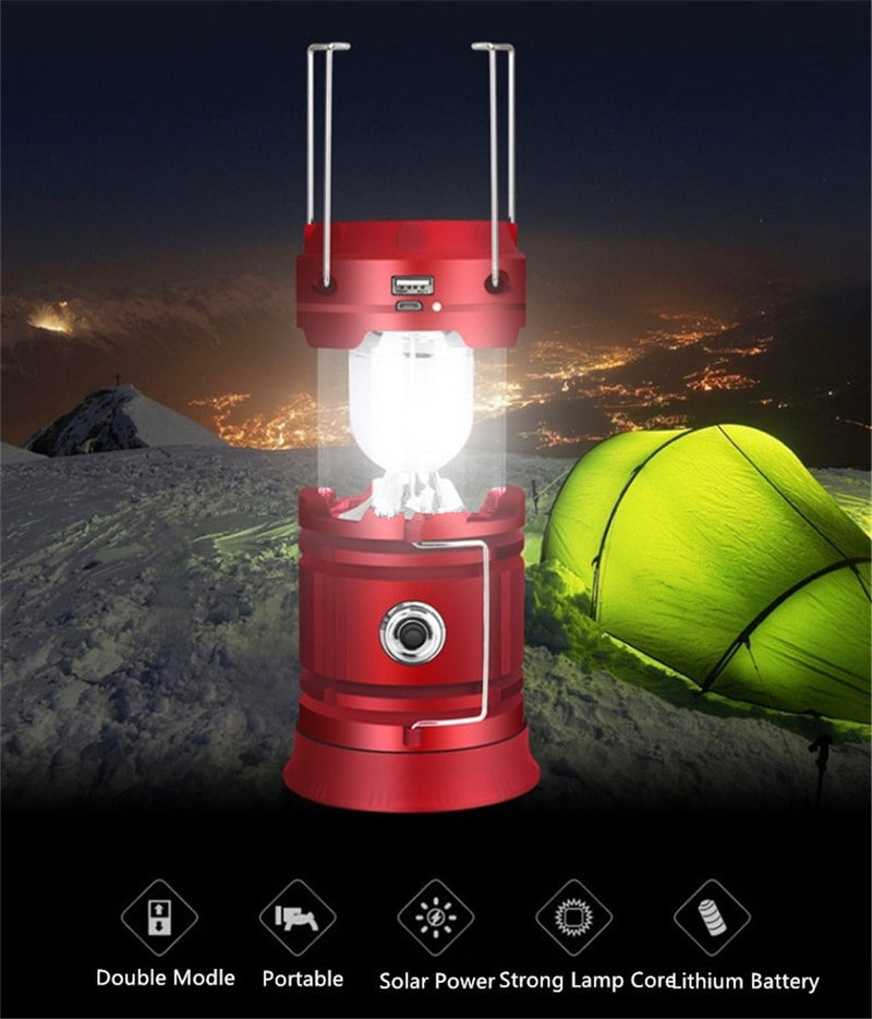 LED Solar lamp Rechargeable + USB Charge Outdoor Camping Hiking Fishing Light