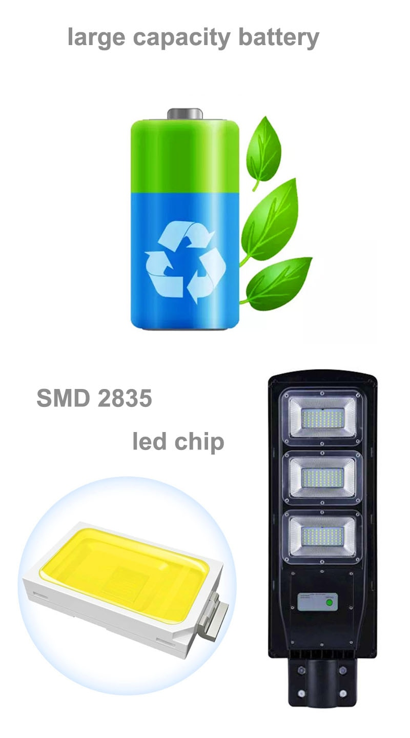 Solar Street Light 20W 40W 60W with Motion Sensor Remote Controller IP65 Waterproof LED Outdoor Light SMD2835 Led Chip