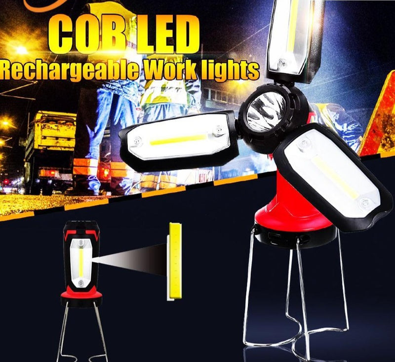 Camping Lantern Flashlight LED COB Work Light Inspection Table Lamp Emergency Repair Rechargeable