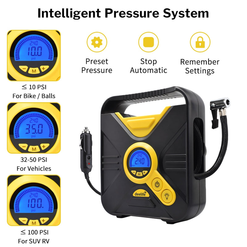 Digital Car Tire Inflatable Pump Auto Portable Air Compressor for Cars Wheel Tires Electric 12V Mini Tyre Inflator