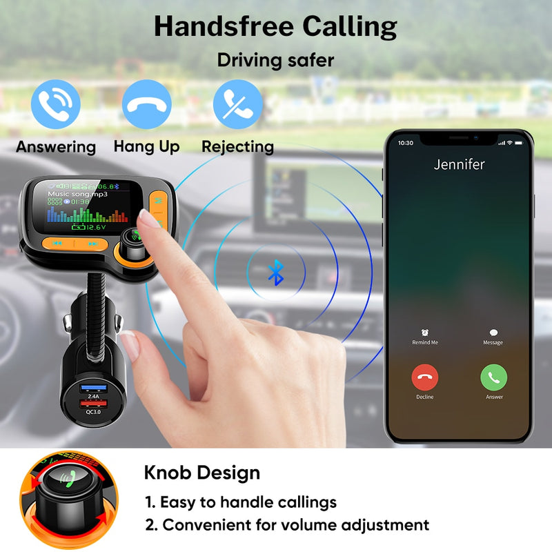 Car MP3 Player Bluetooth Car Kit FM Transmitter Modulator with Color Screen AUX Auto Music Adapter QC 3.0 USB Charger